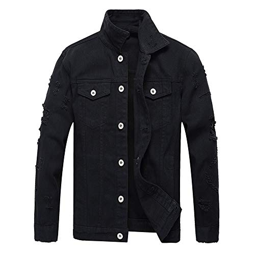 iYYVV Men's Autumn Winter Casual Long Sleeve Turn-Down Collar Solid Hole Denim Jacket
