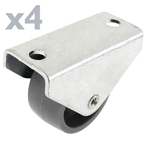 PrimeMatik - Rueda de Nailon 30 mm para Puertas y Muebles 4 Pack