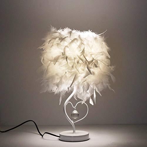 ALLOMN Lámpara Mesilla Noche LED, Lámpara Minimalista Moderna Lámpara Mesa de Noche Vintage Lámpara Mesa de Plumas, Colgante Cristal en Forma Corazón, con Bombilla E27 (Blanco Frío), Enchufe EU