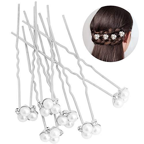 Épingles à Cheveux Perle, Épingle à Cheveux de Mariée Barrette à Cheveux Crystal Pearls Accessoires de Mariée pour Mariage 6 Pièces