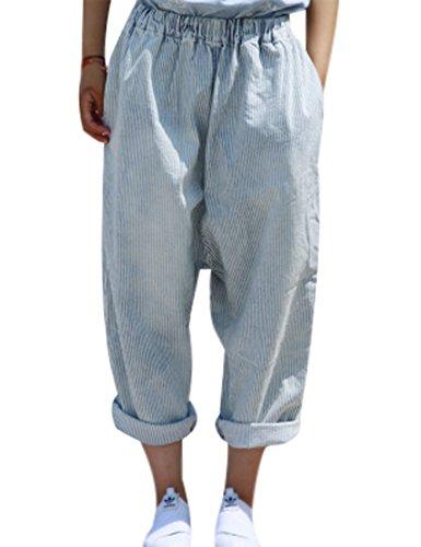Youlee Damen Elastische Taille Weites Bein Hose Gestreifte Jeans