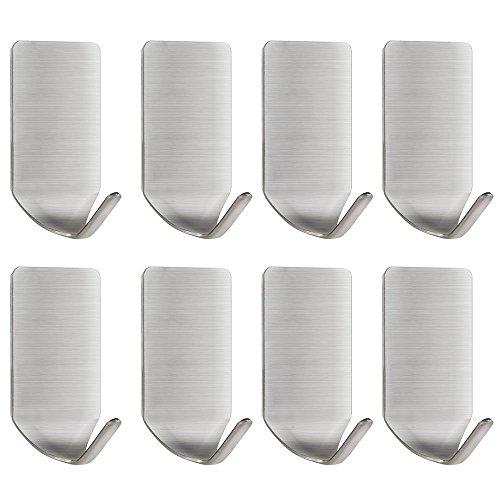 Wandhaken selbstklebend, Handtuchhaken Kleiderhaken Ohne Bohren Wasserfest für Bad und Küche Gebürstetes Edelstahl (8 Stück)