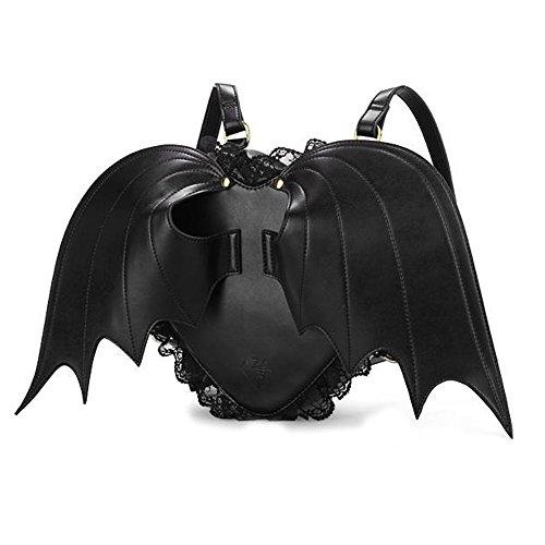 Neevas Fashion Girl Gothic Black Bat Heart Wings Goth Punk Lace Lolita Wing Bag Backpack