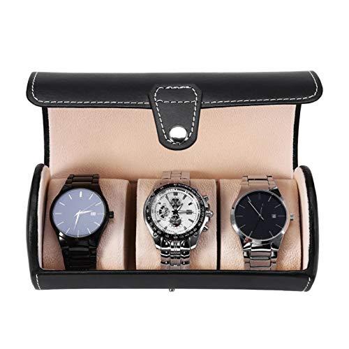 Watch Box Organizer 3 Slot Watch Display Box PU Leather Storage Organizer Case for Men Women Watch Display Organizer Box Roll Case Watch Holder for Home Office Shop (Black)