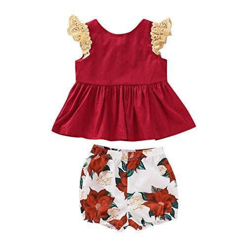 Moneycom❤Toddler Baby Kid Girl Print Tops à Manches volantées + Shorts à Fleurs Ensemble de vêtements Rouge(5-6 Ans)
