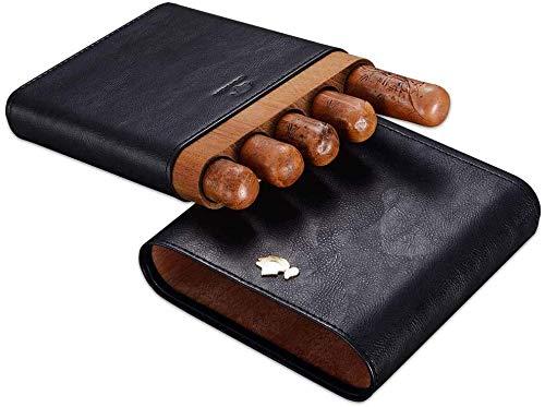 AMITD sigarenaccessoires, sigarenetui, leer, gadget, cederhout, reisetui, humidor houder 5 slangen, met geschenkdoos voor mannen, cadeau, zwart