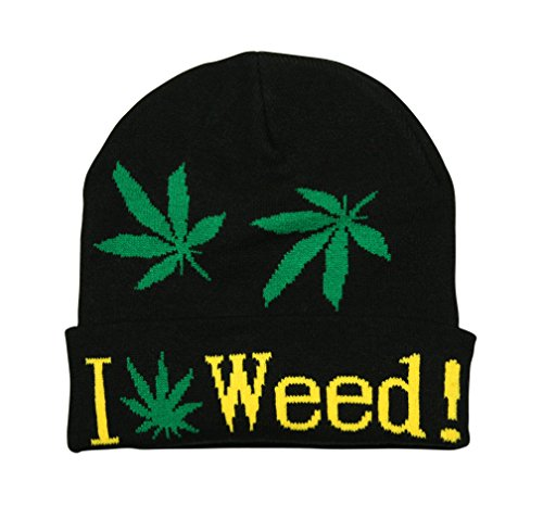 Turn Up Bonnet I Love Weed Ganja Leaf Noir/Vert/Blanc/Jaune - Noir - Taille Unique