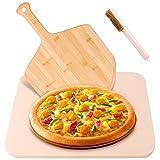 Lanlelin Pietra Refrattaria per Pizza da Forno per Uso Alimentare con Pala per Pizza in Bambù e Spazzola per La Pulizia, Antiscivolo Ad Angolo Tondo, Adatta per Uso Domestico BBQ e Pranzi All'aperto.