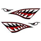 REJOYE 2Pcs Kayak Stickers Decals Waterproof Shark Teeth Mouth Reflective Boat Decals Stickers for Fishing Canoe Bboat Kayaking Accesories