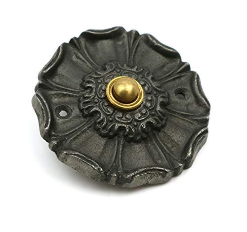 Türklingel mit Blumenmotiv, Gusseisen, 85 mm Durchmesser