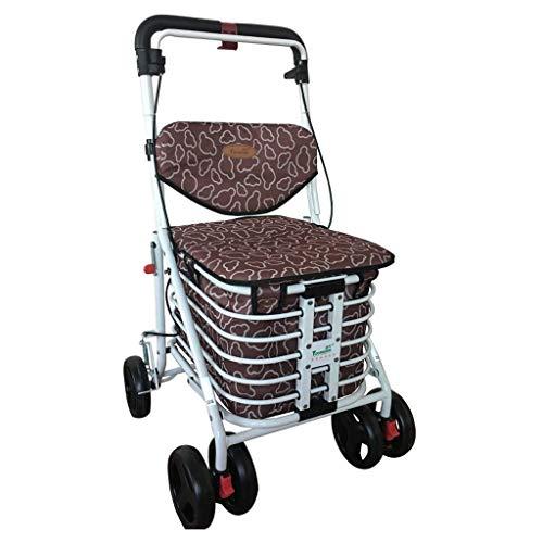 JALAL Multifunktions-Einkaufswagen Allrad-Fahrrad Lebensmitteleinkaufswagen Ältere Freizeit kann sitzen Karren Klapp Hilfs Walker Hand Trucks