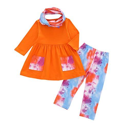 3PC Toddler Baby Girl Long Sleeve Color Block Pocket Dress Top + Elastic Tie Dye Pants Headband Set (Orange, 4-5T)