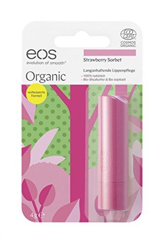 eos Organic Stick Strawberry Sorbet Lip Balm, natürliche Lippenpflege, Beauty-Pflege für softe Lippen, fruchtiger Lip Stick, Naturkosmetik, 1 x 4 g