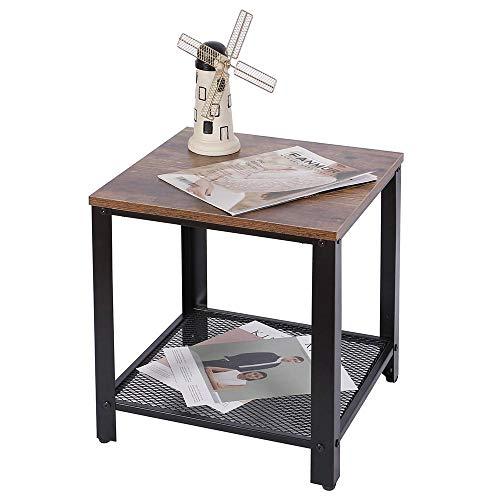 BAKAJI Tavolino Divano Tavolo caffè da Salotto Quadrato Design Moderno Industriale Struttura in Metallo con Ripiano Inferiore Piao d'appoggio in Legno MDF Scuro Dimensione 40 x 45 cm