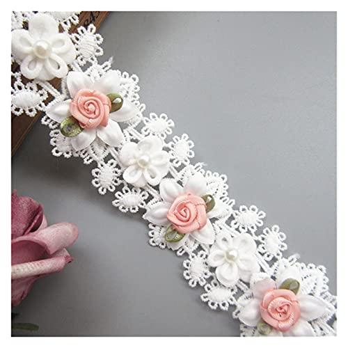 DIY encaje 1yd blanco algodón perla rosa flor bordado encaje cinta cinta costura DIY