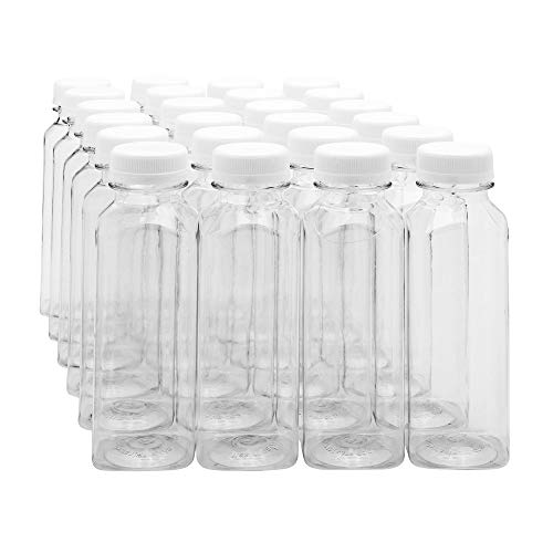 12-OZ Square Plastic Juice Bottles - Cold Pressed Clear Food Grade PET Bottles with Tamper Evident Safety Cap: Perfect for Juice Shops, Cafes and Catering Events - Disposable and Eco-Friendly - 100-CT