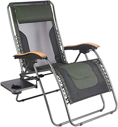 Folding recliner-garden chair zero gravity recliner with lumbar support pillow and side table support frame 350lbs (dark green)
