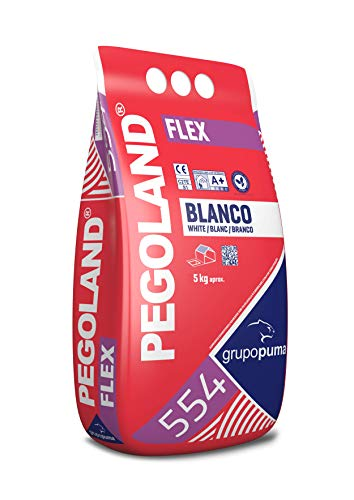 554 Pegoland Flex Blanco C2 TE S1: Adhesivo cementoso especial para piscinas, pavimentos, fachadas. Saco 5 KG