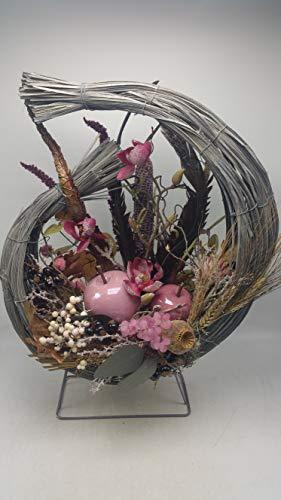 Kunstblumengesteck Herbstgesteck Herbstdeko Äpfel Heide Beeren Blüten rosa