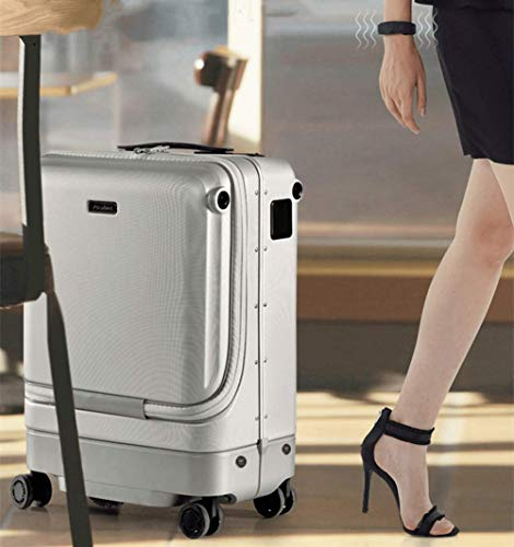 Elektrischer Koffer, Bluetooth-Fernbedienung, buntes LED-Beleuchtungsdesign, Fingerabdrucksperre, USB-Koffer Intelligent Automatic Follow Kids Gepäcktasche Box Reisekoffer Trolley Carry,Silber