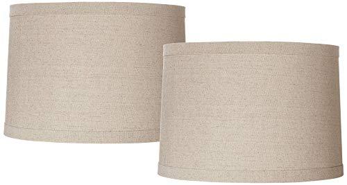 Set of 2 Natural Linen Medium Drum Lamp Shades 15
