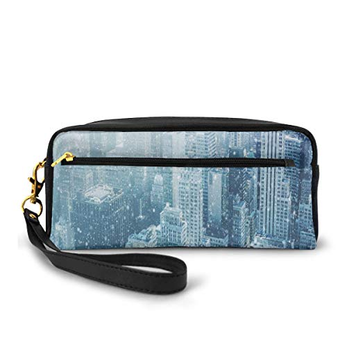 Pencil Case Pen Bag Pouch Stationary,Snow in New York City Image Skyline with Urban Skyscrapers in Manhattan United States,Small Makeup Bag Coin Purse