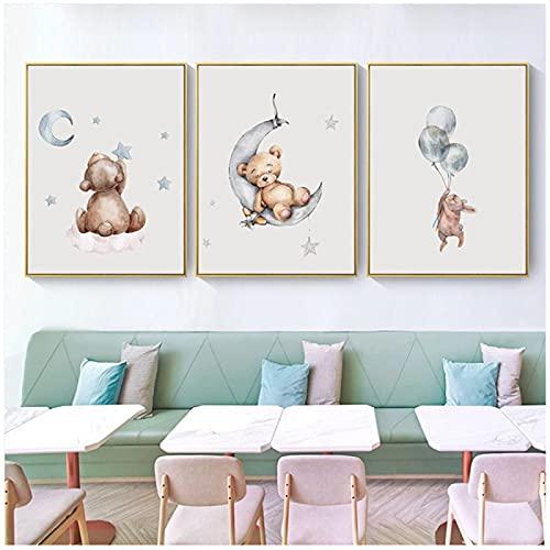 Arte de pared de guardería impresión oso conejito dibujos animados Animal lienzo pintura cuadros nórdicos niños decoración de dormitorio
