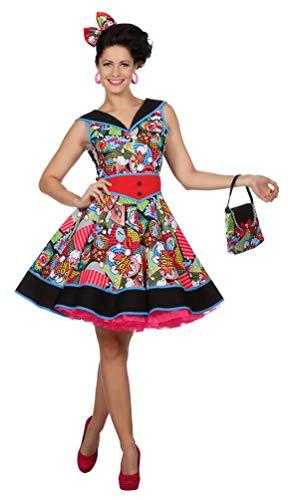 Karneval-Klamotten 50er Jahre Damen-Kostüm Pop Art Kostüm Damen Größe 40