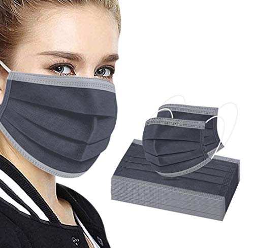 Disposable Face Masks, 3-Ply Breathable Protective Face Masks Pack of 50 Gray Disposable Masks