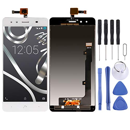 BRIDGET Pantalla-LCD y digitalizador Asamblea Completa de BQ Aquaris X5 (Negro) HD (Color : White)