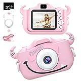Caiery Bambini Fotocamera Digitale Selfie Macchina Fotografica con Scheda SD 32 GB, Portatile Videocamera, Dual Lens Camera Regalo di Compleanno per Bambini (Rosa)