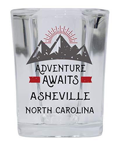 Asheville North Carolina Souvenir 2 Ounce Square Base Liquor Shot Glass Adventure Awaits Design