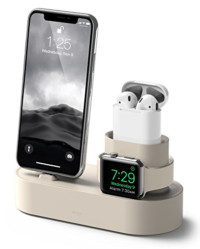 elago 3 in 1 Apple Charging Station Compatible with Apple Watch Series 6/SE/5/4/3/2/1, Apple AirPods 2/1, iPhone 11 and All iPhone Models [Original Cables Required] (Classic White)