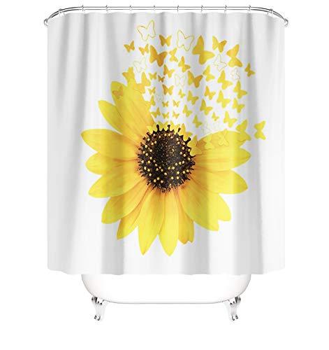 MundW DasDesign Duschvorhang gelbe Sonnenblume Pflanzen Schmetterlinge Badezimmer Textil Vorhang Blätter Antischimmel Effekt waschbar Shower Curtain badewanne inkl. 12 C-Ringe Gewicht unten 180 x 200 cm
