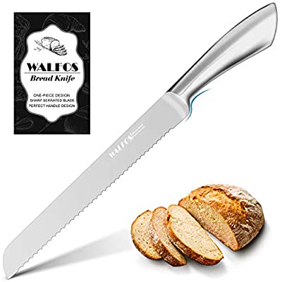 Walfos Serrated Bread Knife, Food Grade Ultra-Sharp Stainless Steel Blade with Ergonomic Handle for All Types of Bread