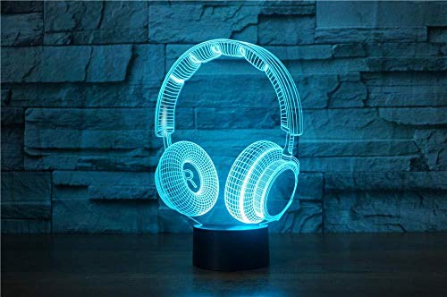 3D LED night light dynamic music earphone action figure 7 color touch optical illusion table lamp home decoration model-remote control