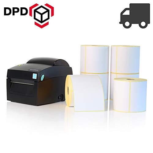 Labelident Starter-Set - Godex DT4X Drucker mit Abreißkante inkl. 3000 Versandetiketten (100x200 mm) für DHL, UPS, DPD, 12 Rollen, 203 dpi - Thermodirekt - 108 mm max. Druckbreite, LAN, seriell, USB