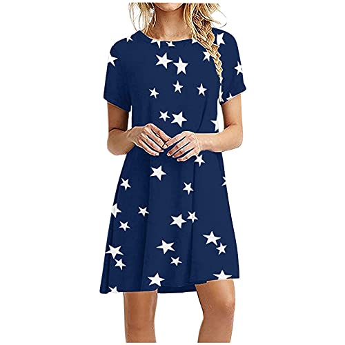 2021 Mujeres calientes Casual manga corta O-cuello degradado impresión señoras mini vestido suelto (girasol, estrella, rayas, floral)