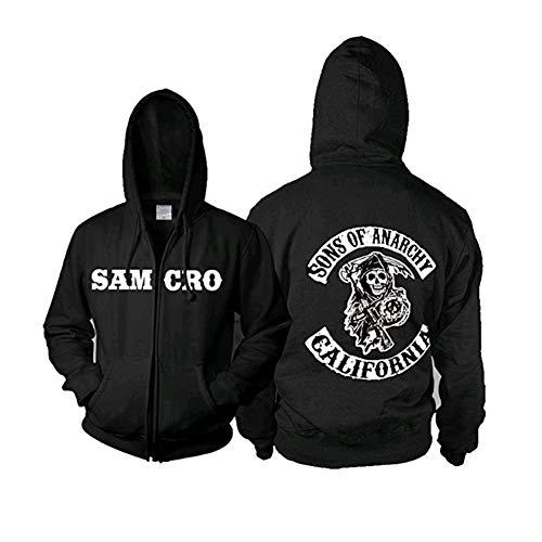 Xcoser Cool Samcro Kapuzenpullover Cosplay Kostüm Zip Schwarz Jacke Sweatshirt Lässig Herren Kleidung Top Verrücktes Kleid Ware