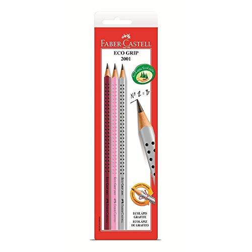 Lápis Grafite Nº 2B Triangular, Faber-Castell, SM/2001CRA, EcoLápis, Linha Grip, 3 Unidades