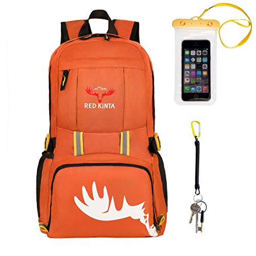 RED KINTA Ultra Lightweight Backpack Small Women Rucksack Foldable Men Backpack 35L Outdoor Water Resistant Packable Daypack for Hiking Cycling Walking Travel Camping (Orange)