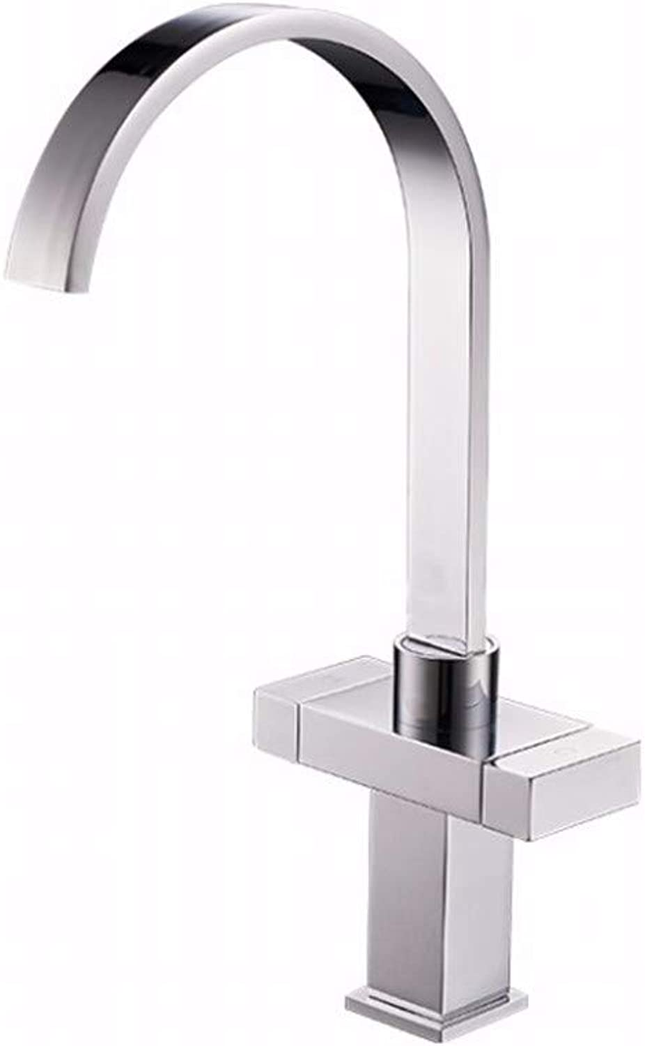 Household copper kitchen faucet square double kitchen hot and cold water faucet