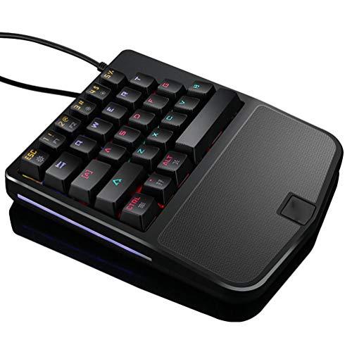 ZHHAOXINPA Gezellig Eenhandig Mechanisch Gaming Toetsenbord 28 Toetsen Draagbaar Mini Gaming Keypad Ergonomische Game Controller Bedraad Klassiek, Zwart