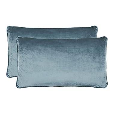 Jean Pierre New York Lucas Lumbar Velvet 2-Piece Decorative Pillow Set, 14in. x 24in. , Navy