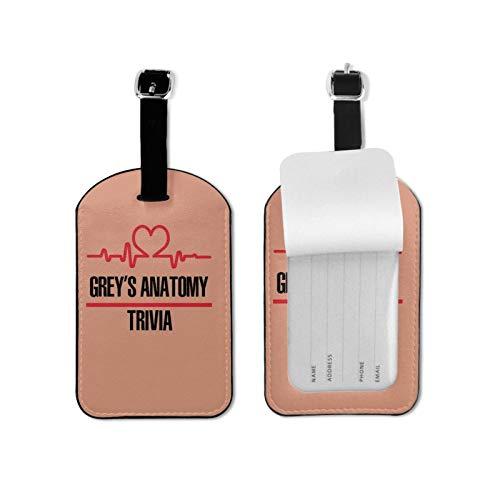Grey-s Anatomy - Etiquetas de equipaje de cuero para hombres y mujeres, etiquetas de maleta2.7 x 4.3 pulgadas