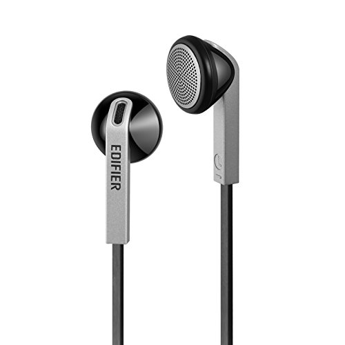Edifier H190 Premium Earbuds - Classic Style Earbud Headphones - Black Earphones with Non-Tangle Wire