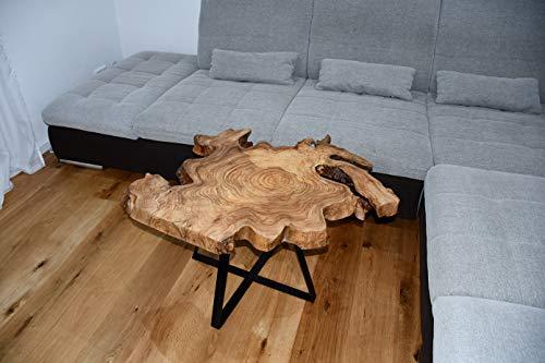 Tavolino da salotto in legno massiccio WURZEL con base in metallo, 90 x 75 x 53 x 6 cm