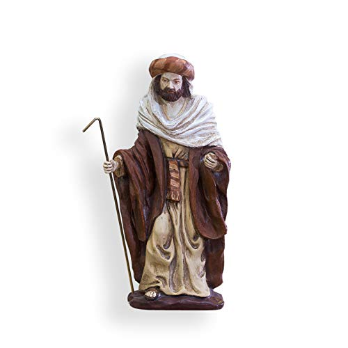 Belén con 5 Figuras, marmolina, Pintado a Mano. 17cm Altura