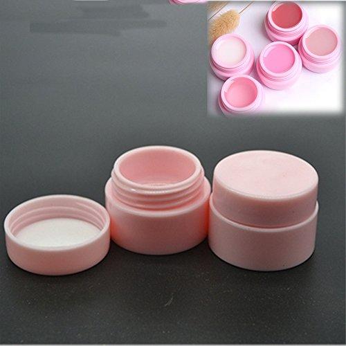 10 Stks/partij 5g Plastic Cosmetische Lege pot Pot Box Nagel Art Gel Poeder Kraal Opslag Container Rond Roze Make-up Gereedschap Draagbaar
