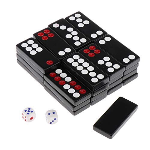 chiwanji 32Pcs Chinesische Antike Pai Gow Paigow Fliesen Mit 2 Stück Würfel In Plastikbox Für Party Casinos Player - Schwarz, F